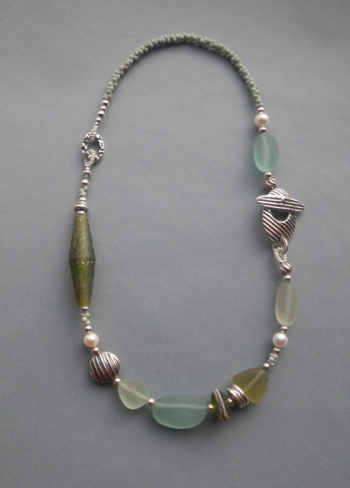 Beach rock necklaces barbara s fernald jewelry i am so happy with how the frostiness of this bead by sue combines with the natural frosty finish of the hundred year old sea glass solutioingenieria Gallery