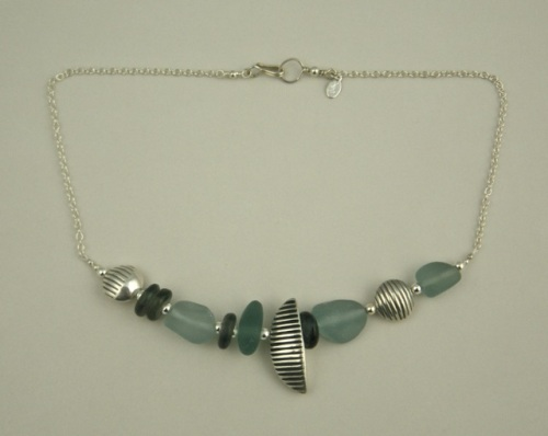 Sea glass, fine silver, sterling silver chain.